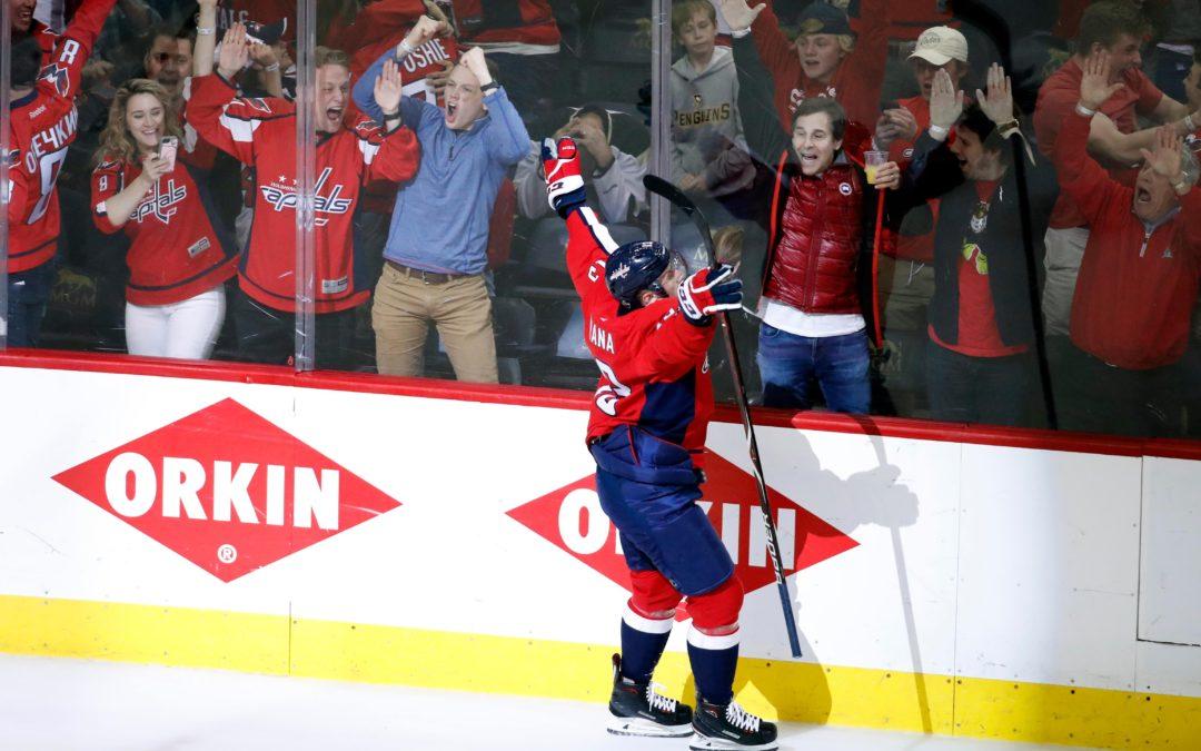 Jakub Vrána a jeho vítězný gól do sítě Penguins v pátém utkání druhého kola 2018 Stanley Cup Playoffs